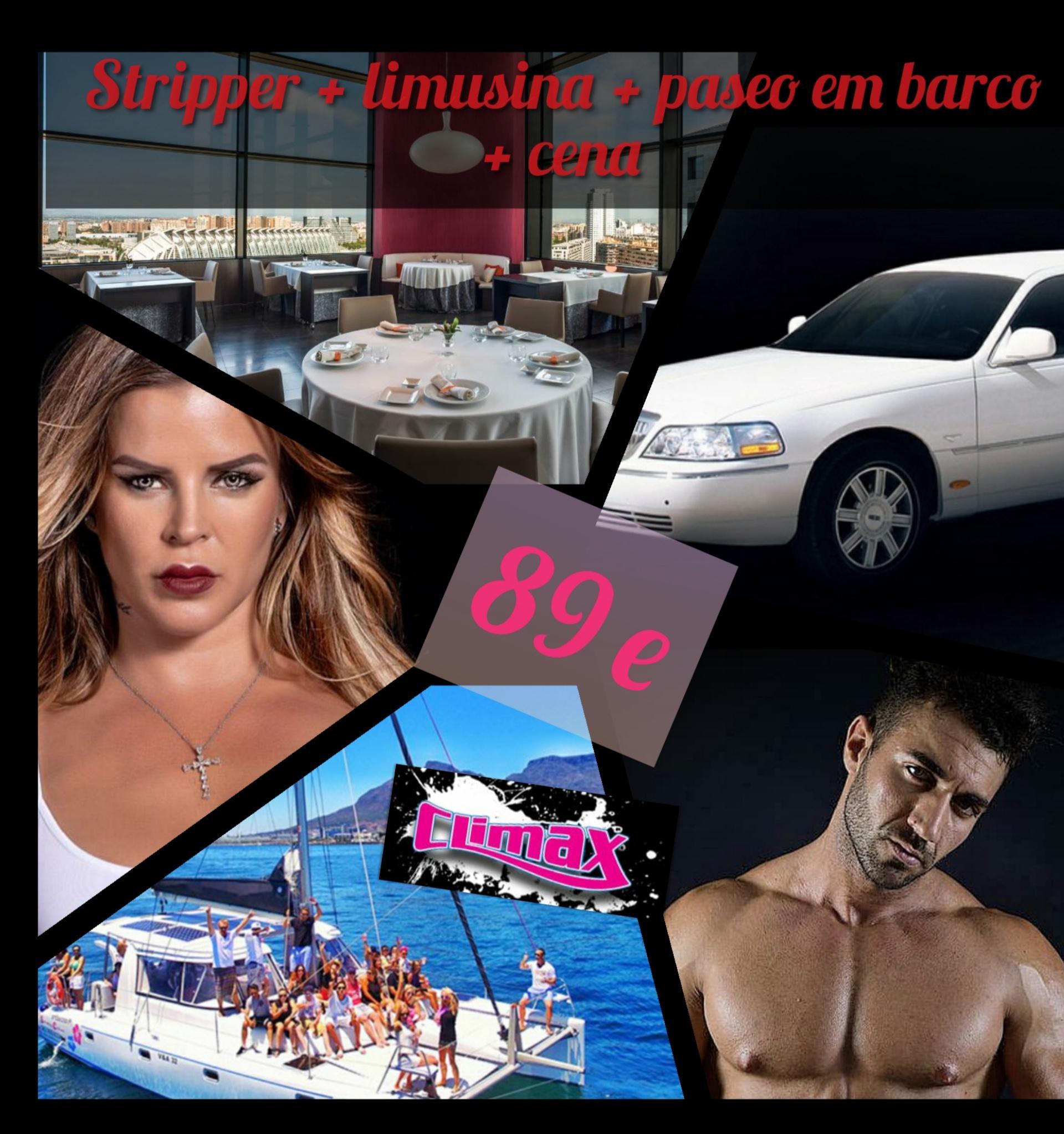 Stripper + limusina + paseo en barco + cena